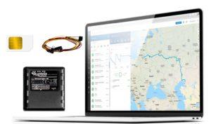 GPS-Tracker für Fahrzeuge aller art + Kabelbaum, inkl. SIM-Karte + Flottenmanagement-Plattform Abonnement für 12 Monate