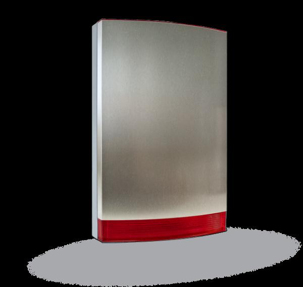 JABLOTRON 100 JA-1X1A-C-ST - Sirenen Gehäusefront Design-Haube in hochwertiger Edelstahl Ausführung mit rote Kalotte